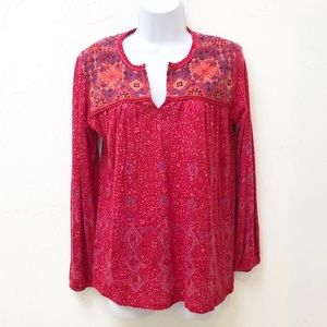 Lucky Brand Long Sleeve Embroidered Top Size M